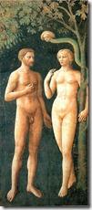 """Masolino, """"Adamo e Eva nell'Eden"""" 1424-25, cappella Brancaccio, Firenze"""