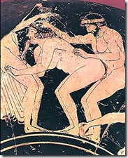 Erotic representation on a greek vase