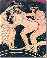 Erotic representation on a greek vase