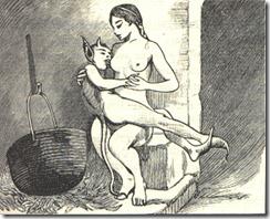 Witch feeding the devil