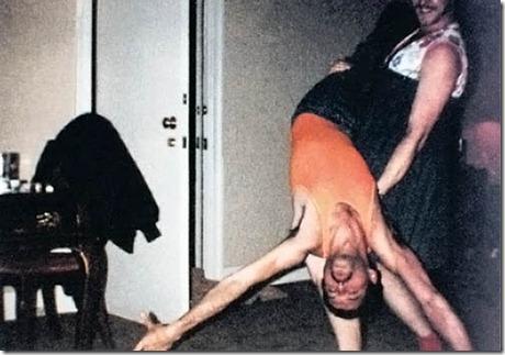 Dancing: Phoebe holds Freddie